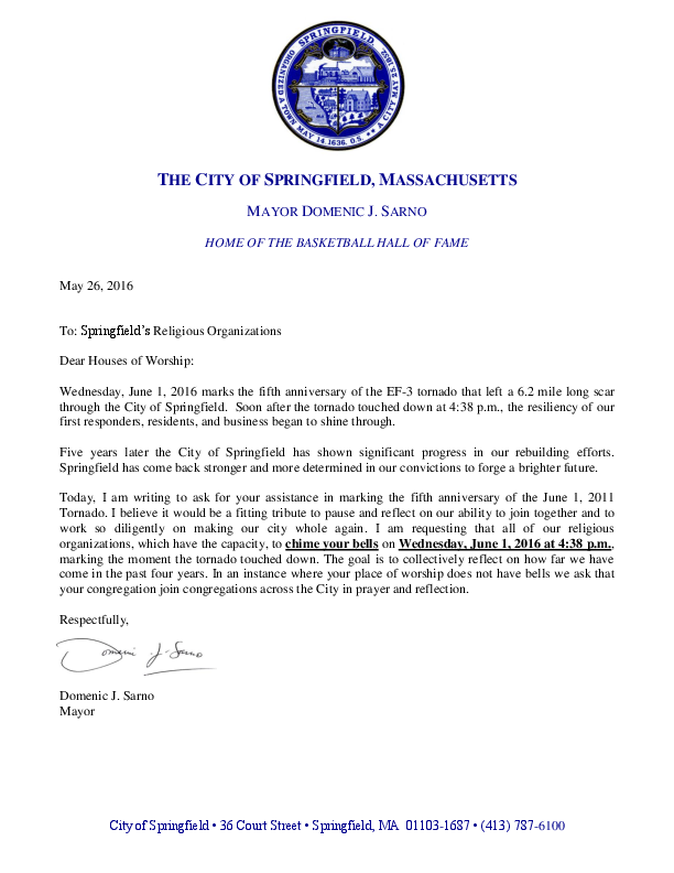 PRESS RELEASE: Mayor Sarno Requests a City-Wide Moment of